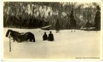 Unidentified residents and horse team in snow